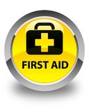 First aid glossy yellow round button. First aid isolated on glossy yellow round button abstract illustration Royalty Free Stock Image