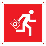 First aid graphic. Red and white graphic of figure running with medical bag for first aid Stock Photo