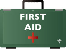 First aid green. First aid illustration of a green medical box with handle Royalty Free Stock Photos