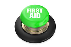 First Aid green button. Isolated on white background Stock Photo