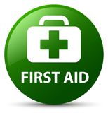 First aid green round button. First aid isolated on green round button abstract illustration Stock Images