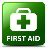 First aid green square button. First aid isolated on green square button abstract illustration Stock Photos
