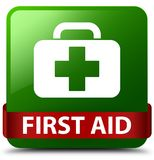 First aid green square button red ribbon in middle. First aid isolated on green square button with red ribbon in middle abstract illustration Stock Photo