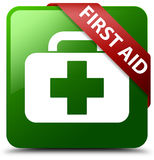 First aid green square button. Reflecting shadow with red ribbon in corner Royalty Free Stock Photography