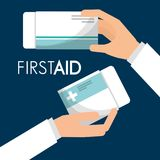 First aid hand holding packaging medicine. Vector illustration Royalty Free Stock Image