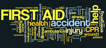 First aid. Health concepts word cloud illustration. Word collage concept Royalty Free Stock Photo