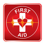 First Aid Health Symbol. Illustration of a first aid health icon or medical symbol with heart and heartbeat line Stock Images