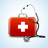 First aid healthcare concept. With medical box and stethoscope vector illustration Royalty Free Stock Images