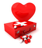 First aid and heart. 3D render Stock Photography