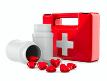 First aid and hearts on white background. 3D image Royalty Free Stock Image