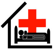 First aid hospital. Person in the care of the first aid Stock Photo