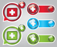 First aid icon buttons  illustration Stock Image