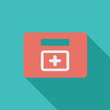 First aid. Icon. Flat vector related icon with long shadow for web and mobile applications. It can be used as - logo, pictogram, icon, infographic element Royalty Free Stock Image