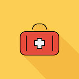 First aid. Icon. Flat vector related icon with long shadow for web and mobile applications. It can be used as - logo, pictogram, icon, infographic element Royalty Free Stock Images