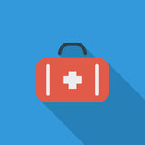 First aid. Icon. Flat vector related icon with long shadow for web and mobile applications. It can be used as - logo, pictogram, icon, infographic element Stock Images