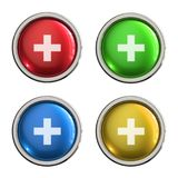 First aid icon glass button. First aid round shiny 4 color web icons with metal frame,3d rendered isolated on white background Royalty Free Stock Image