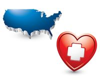 First aid icon in a heart by united states icon. Blue united states icon above a red heart with a first aid sign in the middle Royalty Free Stock Photos