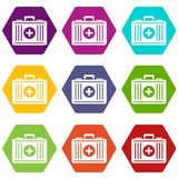 First aid icon set color hexahedron. First aid icon set many color hexahedron isolated on white vector illustration Stock Photos