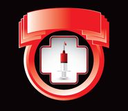 First aid icon with syringe on red crest Royalty Free Stock Photography
