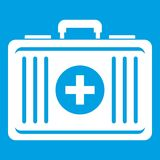 First aid icon white. Isolated on blue background vector illustration Royalty Free Stock Photography