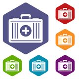First aid icons set hexagon. Isolated vector illustration Stock Photo