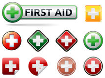 First aid icons. Various  first aid vector icons with banner and text on white background Stock Images