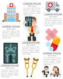 First aid infographics. First aid, bone fracture. Medical vector infographics Royalty Free Stock Photos