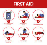 First aid instructions infographics and vector icons of medical. Help for life saving. Illustration of emergency artificial respiration or rescue breath, pulse Stock Images
