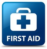 First aid blue square button. First aid isolated on blue square button abstract illustration Royalty Free Stock Images