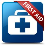 First aid blue square button red ribbon in corner. First aid isolated on blue square button with red ribbon in corner abstract illustration Stock Image