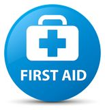First aid cyan blue round button. First aid isolated on cyan blue round button abstract illustration Royalty Free Stock Photo