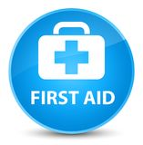First aid elegant cyan blue round button. First aid isolated on elegant cyan blue round button abstract illustration Royalty Free Stock Photo