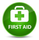 First aid elegant green round button. First aid isolated on elegant green round button abstract illustration Royalty Free Stock Photo