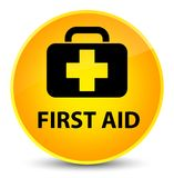 First aid elegant yellow round button. First aid isolated on elegant yellow round button abstract illustration Royalty Free Stock Photography