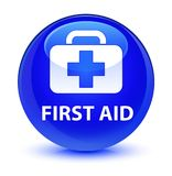 First aid glassy blue round button. First aid isolated on glassy blue round button abstract illustration Royalty Free Stock Photography