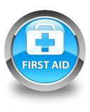 First aid glossy cyan blue round button. First aid isolated on glossy cyan blue round button abstract illustration Stock Photography