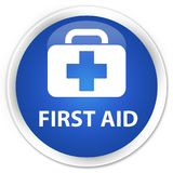 First aid premium blue round button. First aid isolated on premium blue round button abstract illustration Stock Photo