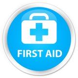 First aid premium cyan blue round button. First aid isolated on premium cyan blue round button abstract illustration Stock Photos