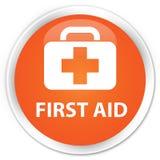 First aid premium orange round button. First aid isolated on premium orange round button abstract illustration Royalty Free Stock Photos