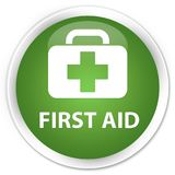 First aid premium soft green round button. First aid isolated on premium soft green round button abstract illustration Royalty Free Stock Photography
