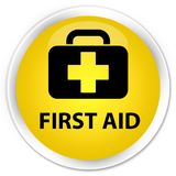 First aid premium yellow round button. First aid isolated on premium yellow round button abstract illustration Royalty Free Stock Photography
