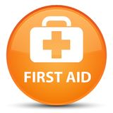 First aid special orange round button. First aid isolated on special orange round button abstract illustration Stock Image