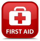 First aid special red square button Royalty Free Stock Photos