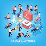 First Aid Isometric Composition. With rescue of victim persons, emergency care kit on blue background vector illustration Stock Images