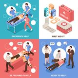 First Aid Isometric Concept. First aid isometric design concept with emergency help, people ready to assistance, medical kit isolated vector illustration Stock Image