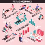 First Aid Isometric Infographics. With emergency help and treatment, medical kit on light background vector illustration Royalty Free Stock Images
