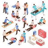 First Aid Isometric Set. With people during help victim persons, emergency care kit isolated vector illustration Stock Images