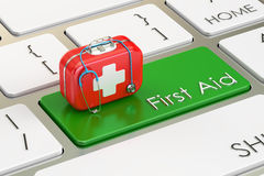 First Aid key on keyboard, 3D rendering. First Aid green button on keyboard, 3D stock illustration