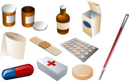 First aid kit. And medical supplies, isomtric vector illustration: pills, disinfectant, bandaids, bandage, firstaid kit, thermometer, antibiotics Stock Image