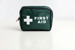 First Aid Kit. A first aid kit bag isolated on a white background Royalty Free Stock Photos